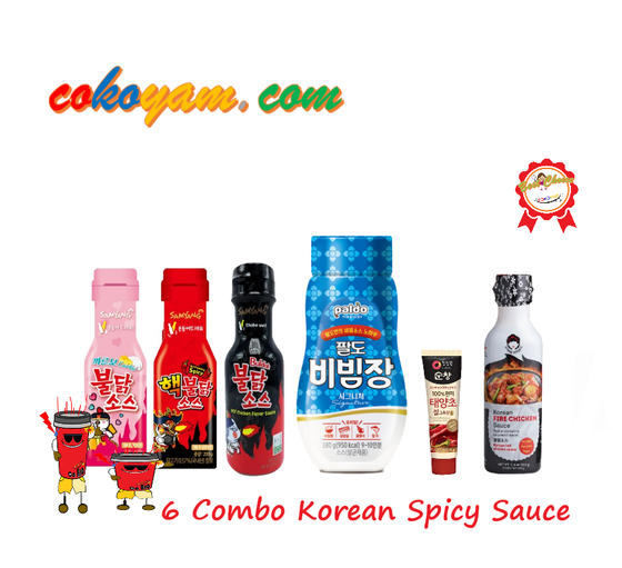 COKOYAM Korean Hot & Spicy Sauce 6 Combo (6 Flavors -1,370g) - CoKoYam
