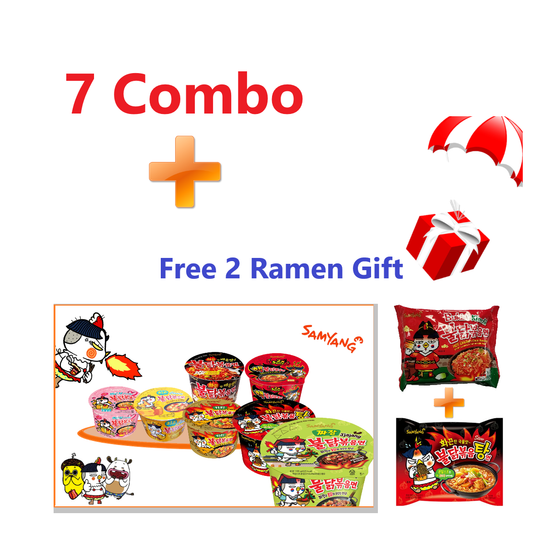 Samyang Spicy Hot Chicken Big Bowl 7 Flavors Combo - Free Gift (2 Hot Chicken Ramens) - [Discounted Item] - CoKoYam
