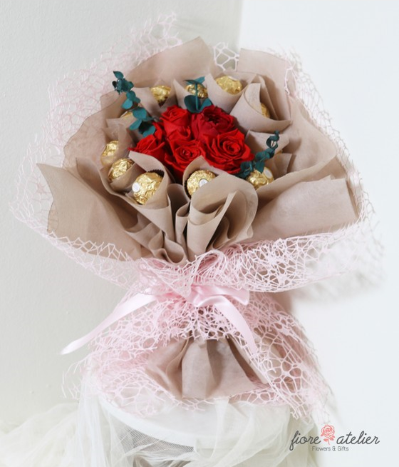 FIORE ATELIER Preserved Fresh Flower Eternal Love Bouquet for Valentine Day Gift - [Free Shipping Item] - CoKoYam