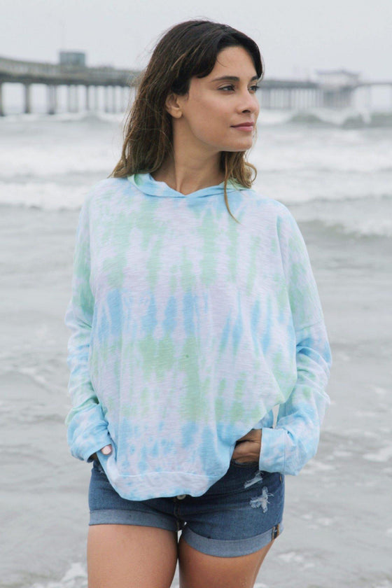 Closet Signature Two-toned Tie Dye Long Sleeve Shirt with Hood - [Free Shipping Item] - CoKoYam