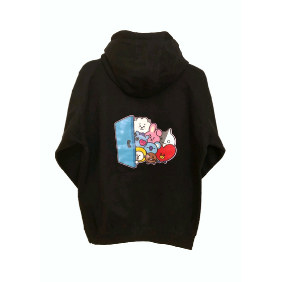 BT21 Door Pop Up Unisex Pullover Hoodie Sweatshirt with Pocket - CoKoYam