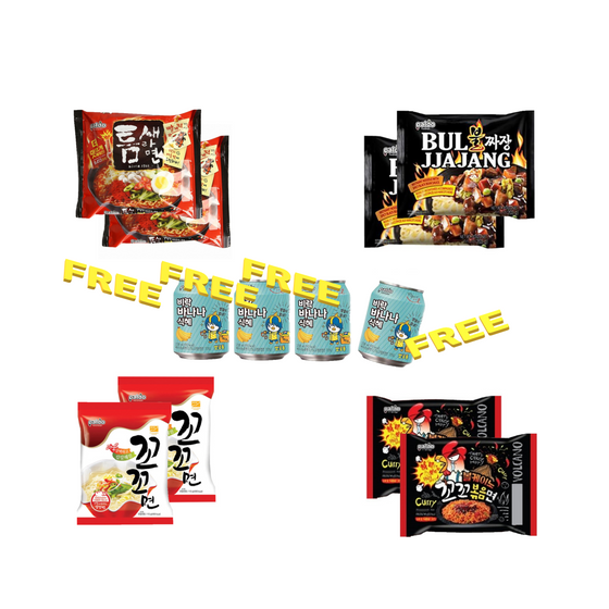 Paldo XXXX Spicy Ramen Combo 8 Packs plus 4 Free Banana Punch Cans - CoKoYam