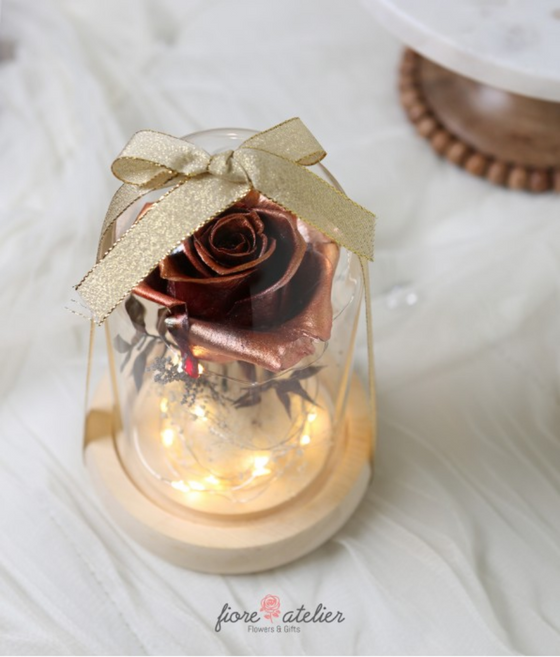 FIORE ATELIER Preserved Flower Glass Dome with LED - Rose Gold Rose with Love Valentine Day Gift - [Free Shipping Item] - CoKoYam