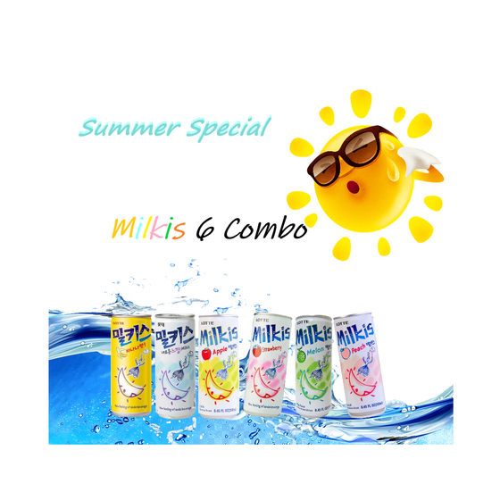Lotte Milkis  6 Flavors Combo Summer Special (250ml x 6) - Maximum order: 1 - CoKoYam