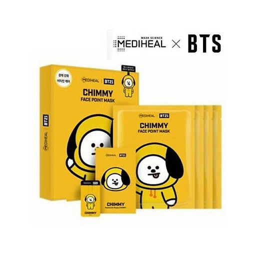 MEDIHEAL BTS BT21 FACE POINT MASK GIFT BOX (4 Sheets+Post Card+Book Mark) - 7 Members - CoKoYam