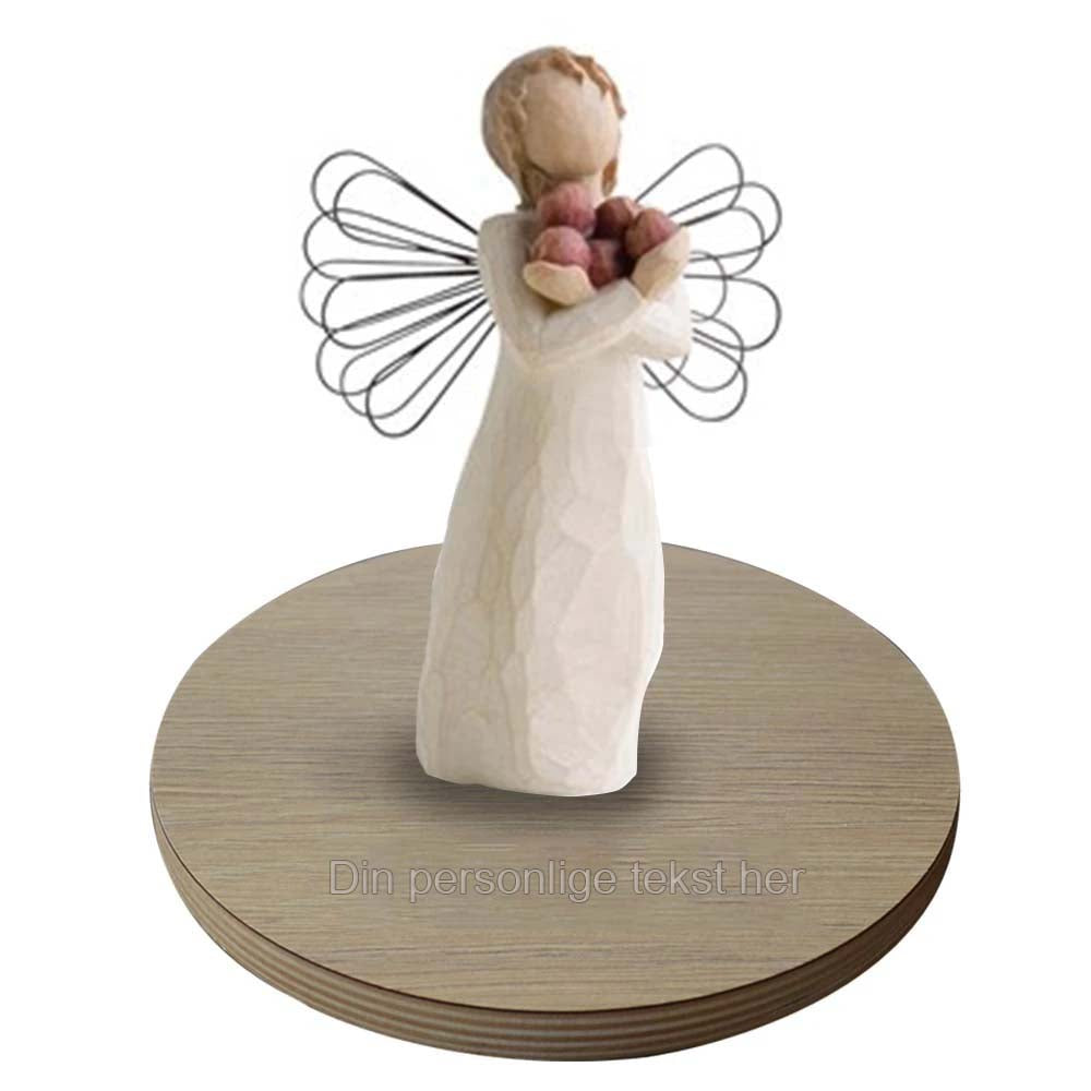 Angel of good health figur med personlig base i træ