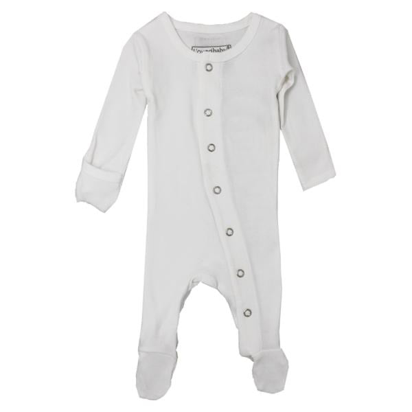 L'ovedbaby Organic Gl'oved Footed Overall - White