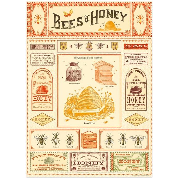 vintage-style poster - bees and honey