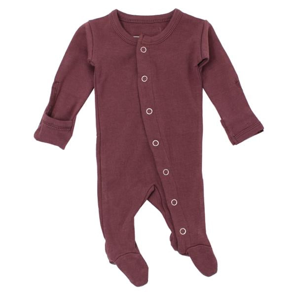 L'ovedbaby Organic Gl'oved Footed Overall - Eggplant