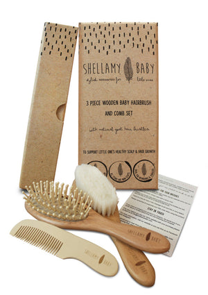 3 Piece Wooden Brush Set