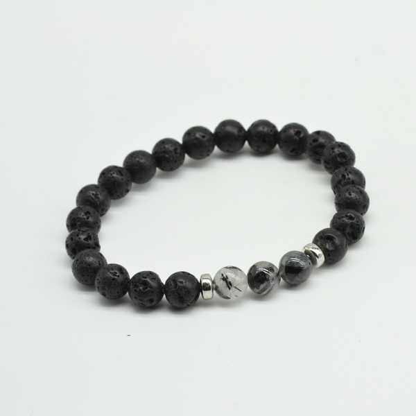 Lava/Quartz Stretch Beaded Bracelet