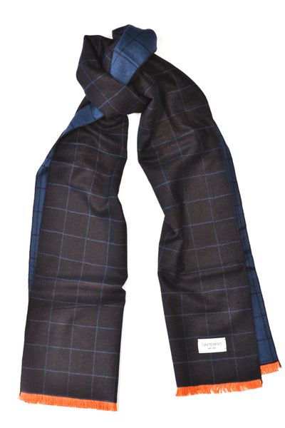 Black and Navy Window-Pane Scarf