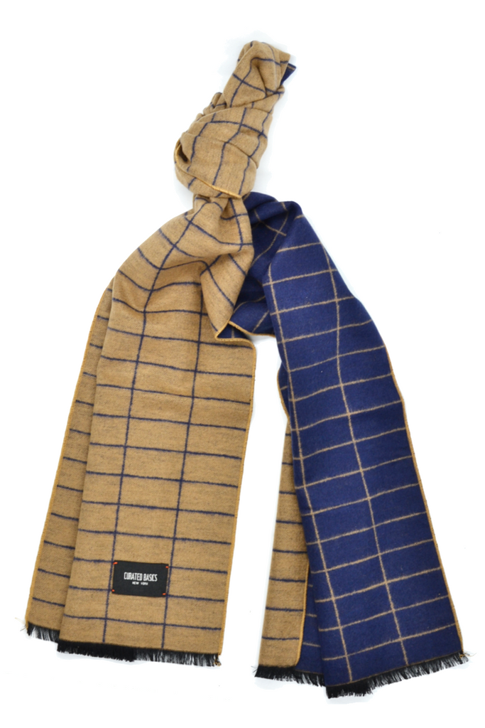 Camel and Navy Window-Pane Scarf