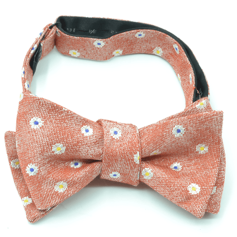 Floral Orange Dots Bow Tie