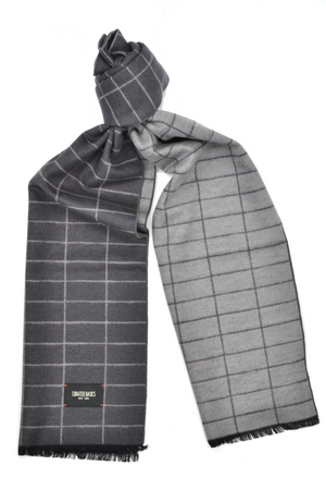 Charcoal Grey and Light Grey Window-Pane Scarf