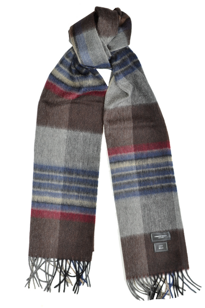 Gray, Brown, Blue Plaid Wool Scarf