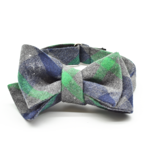 Grey Plaid with Green Accent Bow Tie