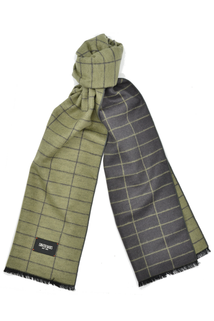 Olive and Charcoal Grey Window-Pane Scarf