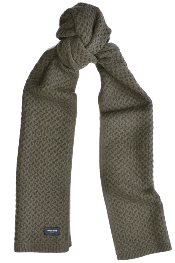 Heavyweight Honeycomb Knit Olive Wool Scarf