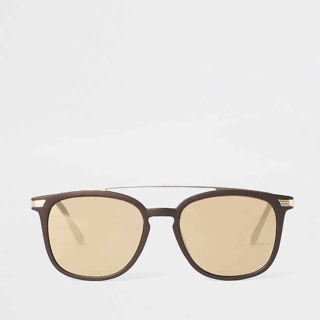 Brown brow bar navigator sunglasses - houseofhighness