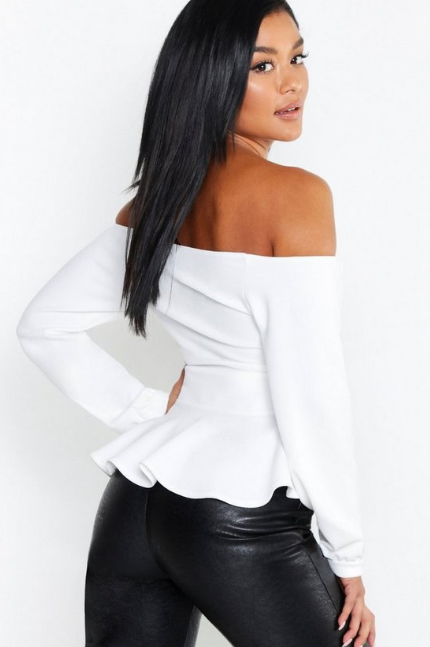 BooHoo Crepe Off The Shoulder Wrap Peplum Top - houseofhighness