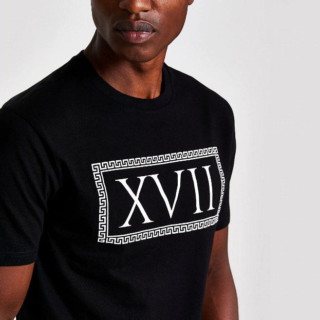 River Island Black 'XVII' print short sleeve T-shirt - houseofhighness