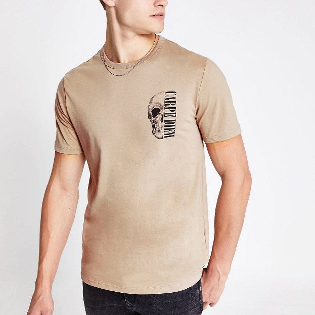 River Island Pebble color slim-fit T-shirt with 'carpe diem' print - houseofhighness
