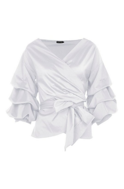 BooHoo Ruffle Tiered Sleeve Wrap Top - houseofhighness