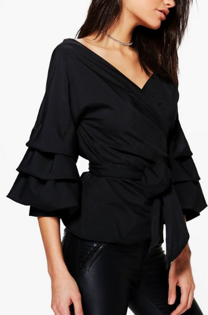 BooHoo Black Ruffle Tiered Sleeve Wrap Top - houseofhighness