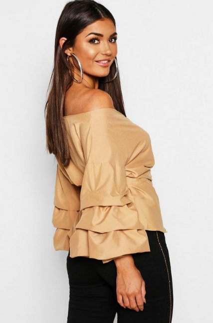 BooHoo Sand Ruffle Tiered Sleeve Wrap Top - houseofhighness