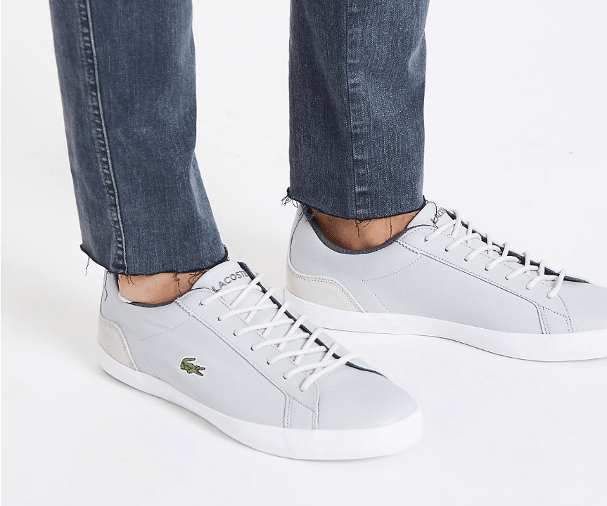 Lacoste grey leather lace-up trainers - houseofhighness