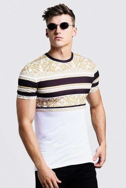 BooHoo MUSCLE FIT T-SHIRT IN STRIPE BAROQUE - houseofhighness