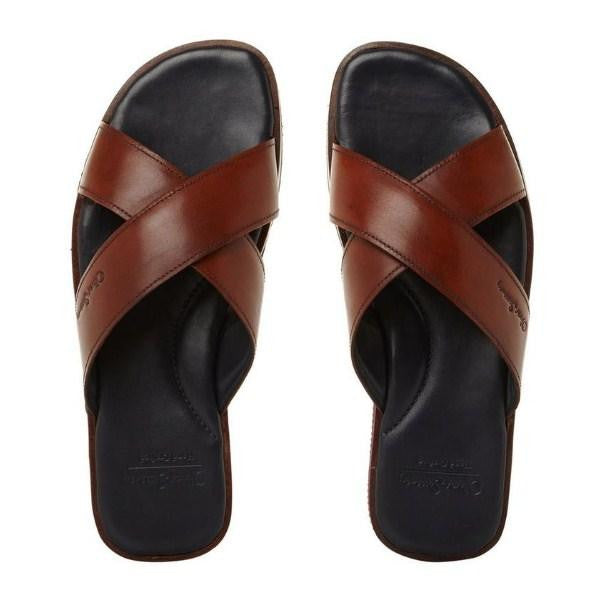 Oliver Sweeney Leather Cross Strap Slip-On Sandal - houseofhighness