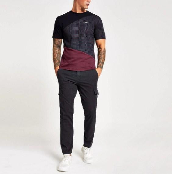 River Island Navy slim fit Prolific blocked T-shirt - houseofhighness