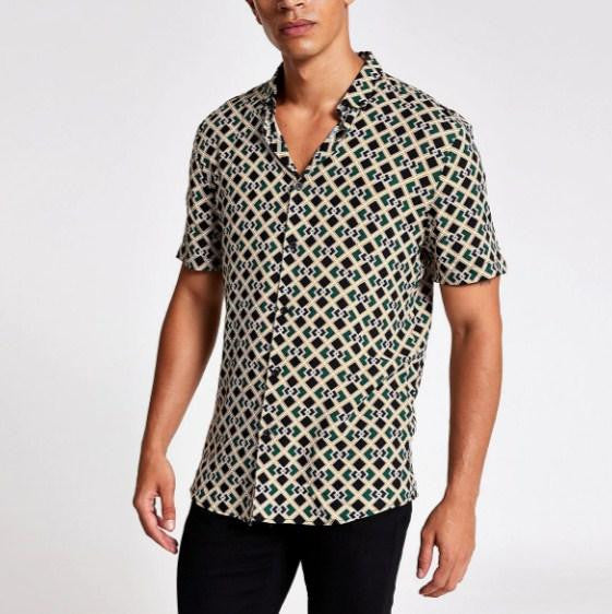 River Island Black geo print short sleeve slim fit shirt - houseofhighness