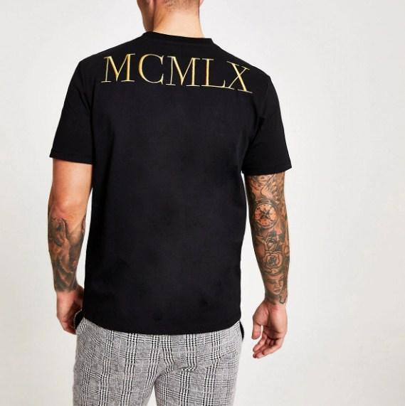 River Island Black 'MCMLX' embroidered slim fit T-shirt - houseofhighness