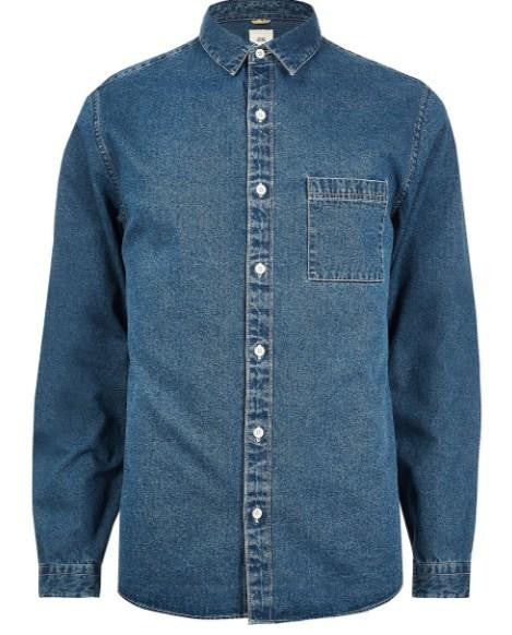 River Island Blue denim long sleeve shirt - houseofhighness