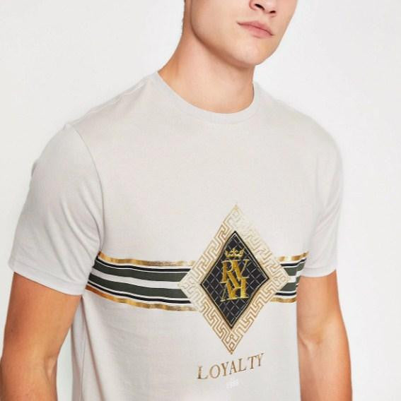 River Island Stone slim fit 'Loyalty' print T-shirt - houseofhighness