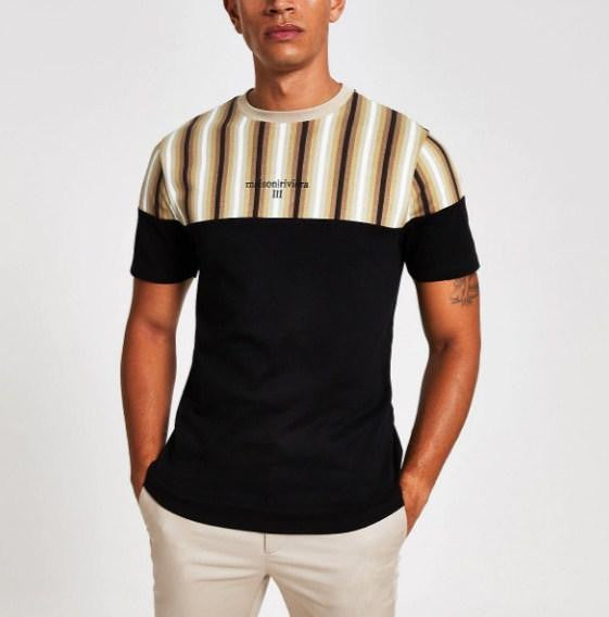 River Island Black ombre stripe blocked slim fit T-shirt - houseofhighness