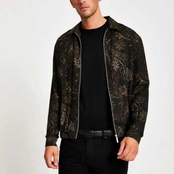 River Island Black paisley long sleeve zip overshirt - houseofhighness