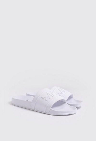 BoohooMan White Debossed Sliders - houseofhighness