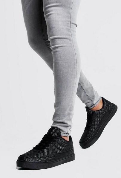 BoohooMan Lace Up Texture Trainers - houseofhighness