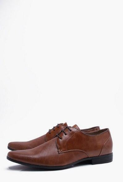 BoohooMan Embossed Vamp Smart Shoe - houseofhighness