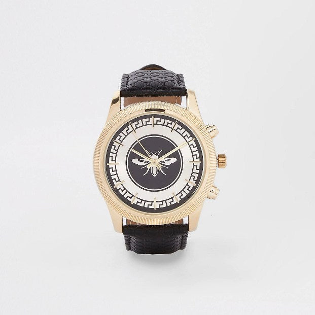 River Island Wasp watch with black leather look strap - houseofhighness
