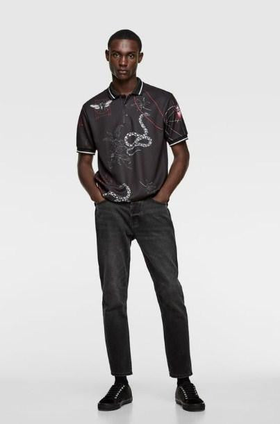 ZARA BLACK PRINT POLO SHIRT - houseofhighness