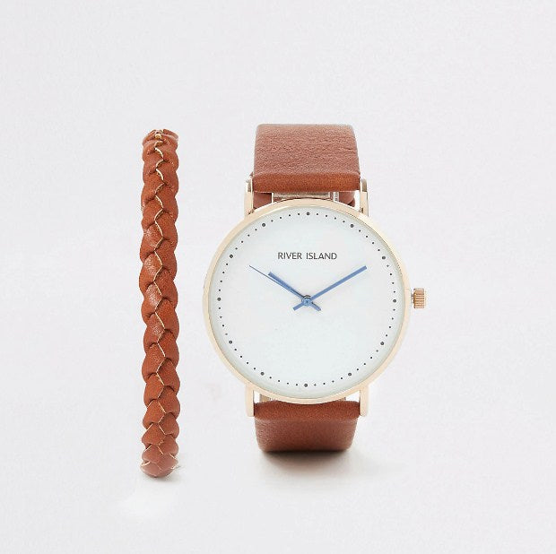 River Island Set of brown watch with gold colored dial and bracelet - houseofhighness
