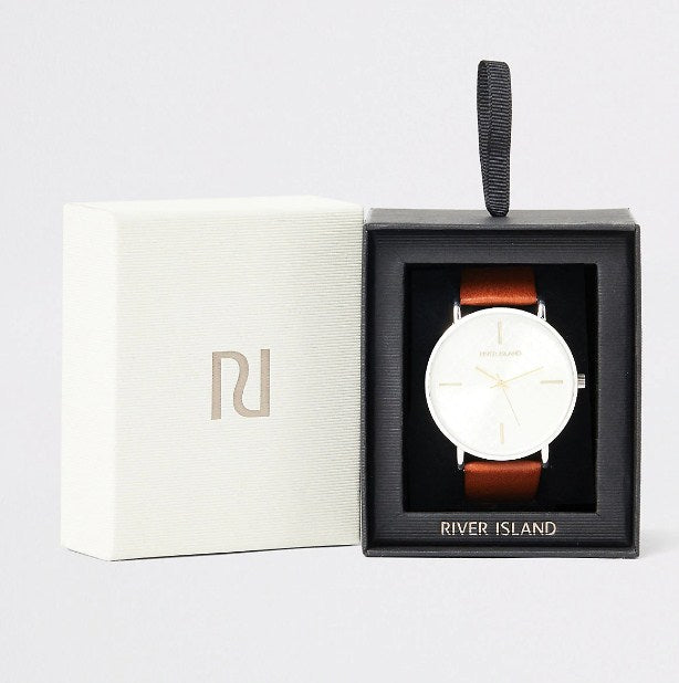 River Island Brown watch with silver dial and RI logo - houseofhighness