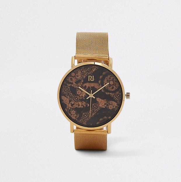 River Island Gold colored watch with mesh strap and leopard print - houseofhighness