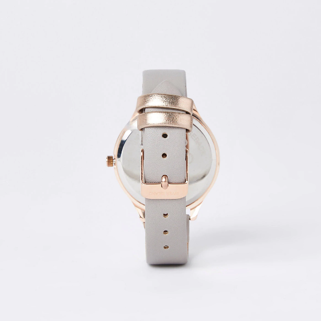 Grey rose gold colour diamante face watch - houseofhighness