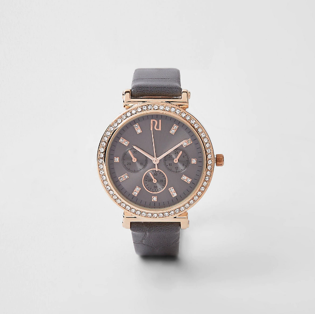 River Island Dark grey gold diamante croc embossed watch - houseofhighness